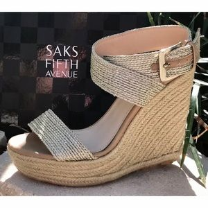 ✨SAKS 5th AVE✨ Platinum Gold Wedge Strappy Sandals